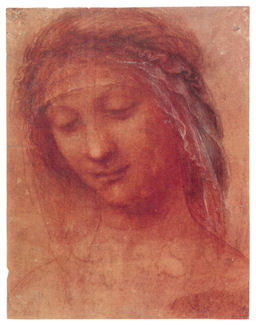 Chalk drawing of a head by Leonardo Da Vinci